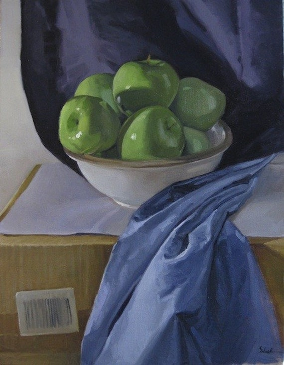 "Oil Painting - ""Bowl of Green"" - Art by Sarah Sedwick"