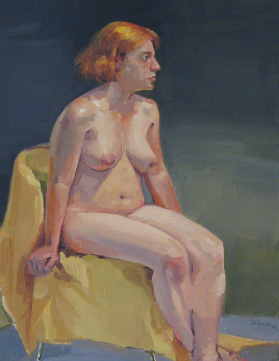 Original Oil Painting - Nude on Green- by Sarah Sedwick 14x18 inches