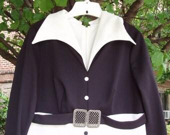 Vintage Maxi Dress with Original Belt, Black & White, 1960s, Size Large