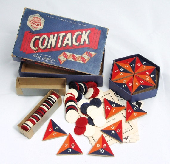 Antique Contack Game, Parker Brothers, 1939 Vintage, All Pieces Included and Original Box