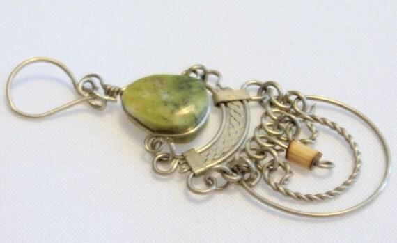 Vintage Earrings, 1980s Boho, Silvertone with Green Teardrop Shaped Stones