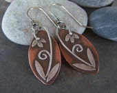 Copper-Silver-Lilly-Dangle Earrings-Free Shipping-Sale.