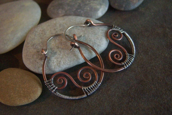 Rustic Swirls-Hoop-Earrings-Sale.
