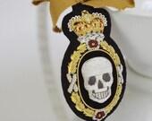 The Secret Society Bullion Crest Headband - Embroidered Skull Crest