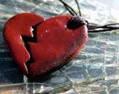 Broken Heart Pendant on Hemp Cord - Polymer Clay - HomeGrown Fashion