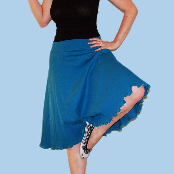 Teal Jersey Knit Circle Skirt Misses Size Medium M 8-10
