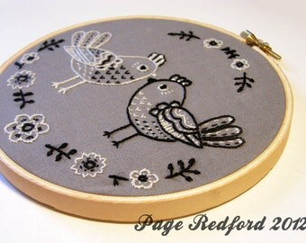 Lovely Chickens Embroidery and Wall Art