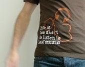 Bad Music brown men's/unisex t-shirt