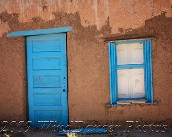 New Mexico Blue Door  - Fine Art Photo - Southwest - 9 x 12 Matted Photo - Southwest Photo - Home Decor  - Office Decor - Adobe House -