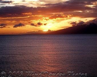 Sunset Fire     11 x 14 Fine Art  Photograph - Hawaii - Maui Sunset - Beach Sunset - Maui Photo - Home Decor - Office Decor