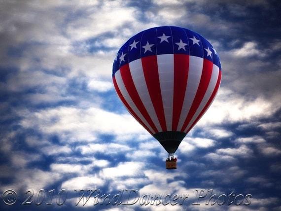 Stars Stripes Sky - Fine Art  Photo - 9 x 12 Hot Air Balloon - Red White Blue - American Flag - Home Office Decor - Wall Art - Americana