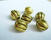 Luxury Antique Gold Plated Fluted Bead, 10x9mm. Pkg of  28