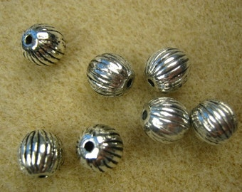 Antique Silver plated Bead, 8mm. Pkg of 20 .... B2
