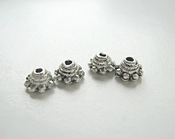 Antique Silver plated 5mm Bead Cap.  Pkg of 100 ... BC103 - - -Sale