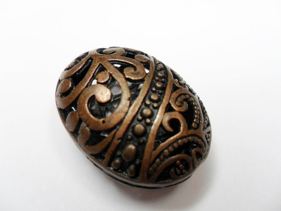 Copper Filigree Bead, Large Lux Open Filigree Oval Bead, 29x23mm per bead