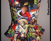 handmade Classic movie monsters ruffle peplum corset style top with bow featuring frankenstein mummy dracula werewolf custom made to order