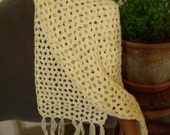 Wide Yellow Fringed Scarf