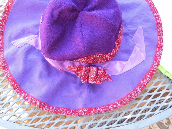 Red and Purple Gardening Hat