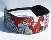 Womens Headband, Reversible Headband, Red and Gray Dragon Print Reversible Headband