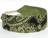 Women's Headband, Reversible Headband, Green and Brown Paisley Reversible Headband