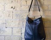 Leather Shoulder Bag in Super Soft Navy Leather- CHA CHA Samples