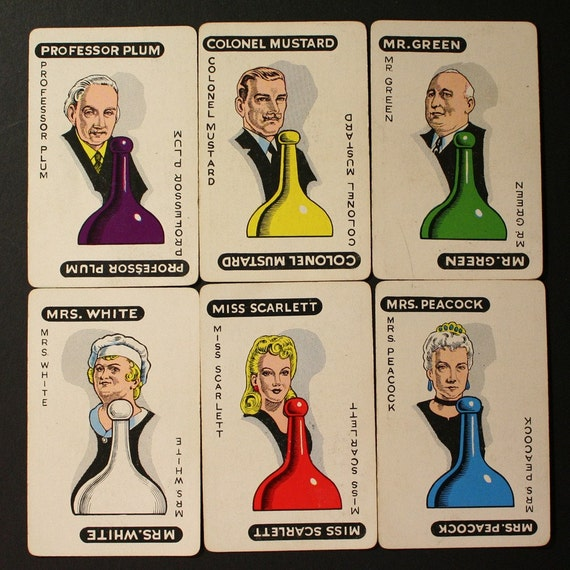 Clue Cards Vintage clue character cards