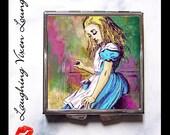 Alice In Wonderland Pill Box - Compact Mirror - Pill Case - Purse Mirror - Makeup Mirror - Bag Mirror - Alice Psychedelic