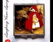 Red Riding Hood Compact Mirror Style-A - Fairy Tale Fairytale - Big Bad Wolf - Werewolf - Brothers Grimm - Pill Case - Pillbox