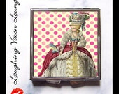 Compact Mirror - Pill Box - Marie Antoinette Style-A - Edwardian Victorian Woman Ladies - Royal Queen France Paris French - Pill Case