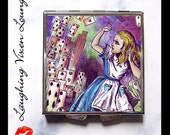 Alice In Wonderland Compact Mirror - Pill Box - Alice And The Cards Psychedelic Compact - Looking Glass - Pill Case - Pillbox