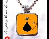 Black Cat Jewelry - Black Cat Necklace B Orange - Retro Kitty Kitten Cat Jewelry Necklace - Halloween Jewelry Necklace - Buy 2 Get 1 Free