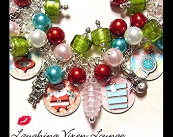 Christmas Bracelet | Christmas Jewelry | Chrismas Necklace | Retro Christmas Charm Bracelet | Santa Jewelry | Santa Necklace Santa Bracelet
