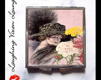 Compact Mirror - Pill Box - Vintage Ladies In Hats C - Whimsical Retro Women - Fashion Vintage Women - Victorian Women - Pill Case - Pillbox