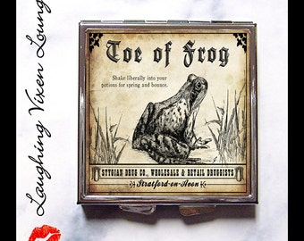 Magic Potion Compact Mirror - Potion Label Toe Of Frog Compact - Macbeth Shakespeare Pill Box - Wizard Witch Potion Magic Spell Witch Spell