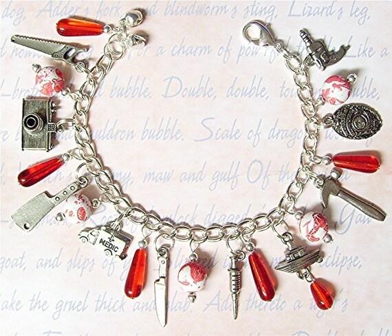 Sale - Dexter Charm Bracelet - With Blood Spatter Beads