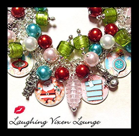Christmas Jewelry - Christmas Bracelet - Retro Christmas Charm Bracelet - Holiday Jewelry - Holiday Bracelet
