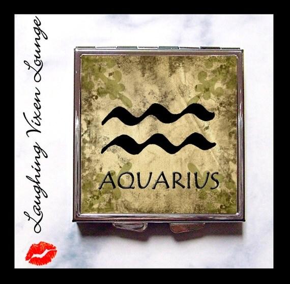 Aquarius Compact Mirror Primitive - Aquarius Pill Box - Zodiac Sign - January Birthday - February Birthday - Aquarius Pill Case