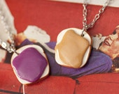 ON RESERVE Best Friends Necklace Set - Peanut Butter and Jelly Sandwich Handmade by Roscata