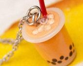 Necklace - Thai Iced Tea Boba Drink Handmade by Roscata