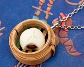 Necklace - Chinese Dim Sum Steamed Bun in Bamboo Steamer Handmade by Roscata