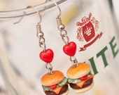 Earrings - Small Cheeseburger Burgers with Tomato Cheddar and Lettuce Handmade by Roscata