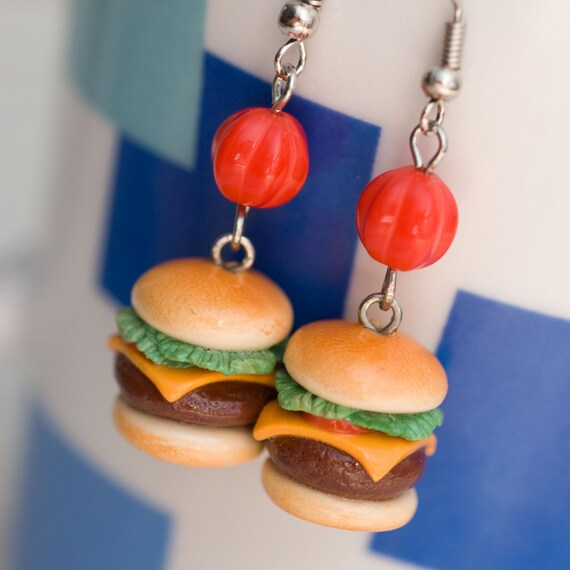 Earrings - Cheeseburger Burgers with Tomato Cheddar and Lettuce Handmade by Roscata