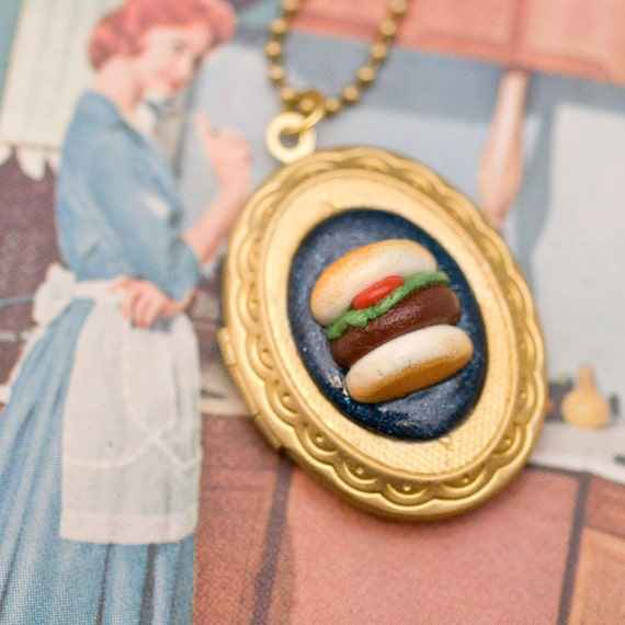 Locket Necklace - Hamburger or Veggie Burger with Lettuce and Tomato Handmade by Roscata