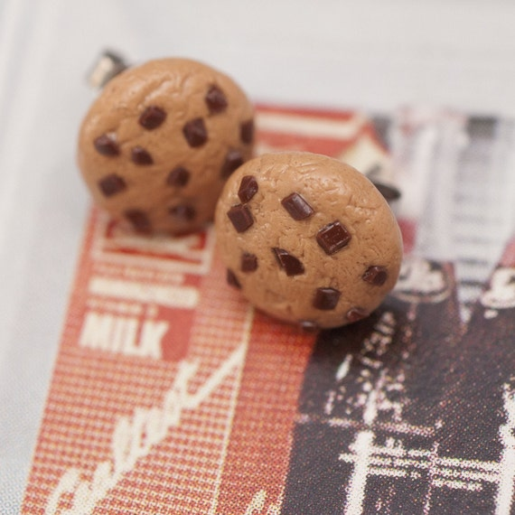 Post Earrings - Chocolate Chip Cookies Handmade by Roscata