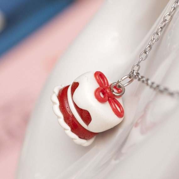 CLEARANCE SALE Necklace - Red Velvet Cake Handmade by Roscata