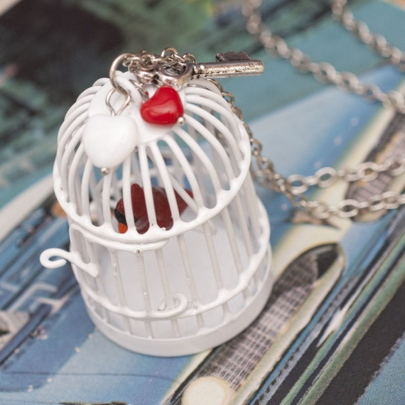 Necklace - White Birdcage with Red Cardinal Handmade by Roscata