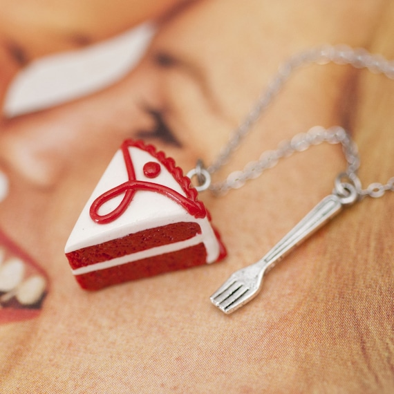 Necklace - Red Velvet Cake with Tiny Fork Charm Handmade by Roscata