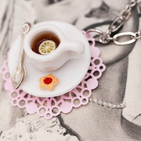 Roscata Miniature Cup of Tea on Rose Pink Doily Necklace - For Lovers of Tiny Things
