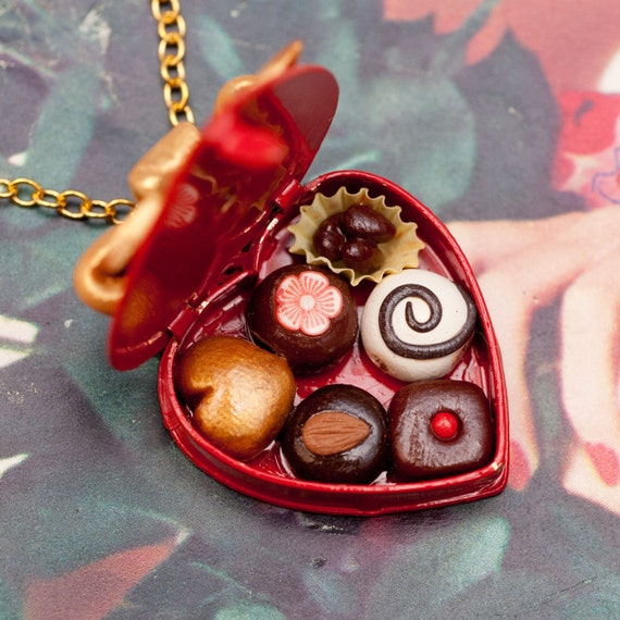 Necklace - Red Sweetheart Valentines Day Box of Gourmet Chocolates Handmade by Roscata