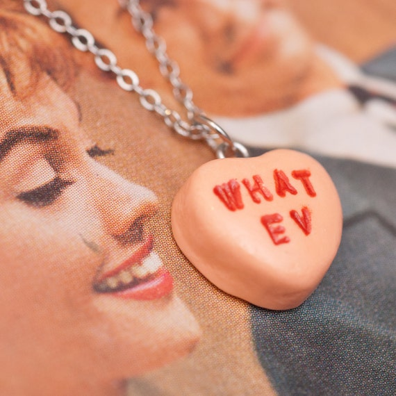 Necklace - Sweetheart Candy Anti Valentines Day Orange Sherbet WHAT EV Handmade by Roscata